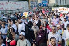 Enorma demostrations i service av den avhyste presidenten Morsi Royaltyfria Foton