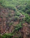 Enorma folkmassor av kinesiska turister i en siktfläck Arkivfoton