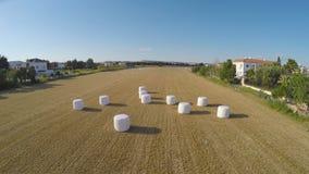 Enorma höpackar som lämnas i fält efter att ha skördat, att ha brukat och jordbruk, antenn arkivfilmer