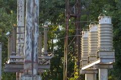 Enorma keramiska isolatorer på hög-spänning kraftledningar royaltyfri foto