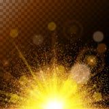 Enorma magiska ljus för realistiskt solljus, guldstoft på en brun bakgrund Färgrik och högkvalitativ mall vektor Royaltyfri Bild