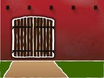 Enorma och gamla träportar på en smutsig burgundy vägg Sesto för deg Gräns- och tillträdesrätt skyddat område Arkivbilder