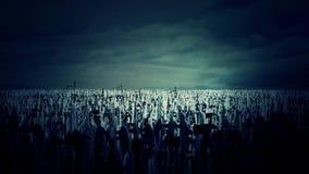 Enorme Armee von den mittelalterlichen Kriegern, die für Krieg marschieren vektor abbildung