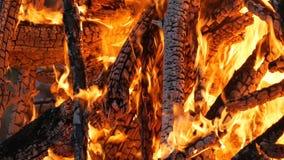 Enorme brennende Flammen schließen oben stock footage