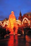 Enorme Eisfrauenfigur in Moskau Die Maslenitsa-Puppe Lizenzfreie Stockbilder
