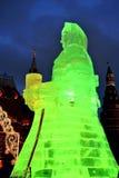 Enorme Eisfrauenfigur in Moskau Die Maslenitsa-Puppe Stockfotografie