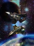 Enorme Raumschiffe nah an ausländischen Planeten Stockbild