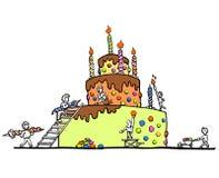 Enorme verjaardagscake - witte achtergrond Stock Afbeeldingen