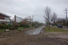 Enorme Verwüstung in der Zeit nach Hurrikan Sandy in weitem Rockaway, New York Stockfoto
