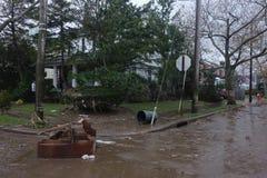 Enorme Verwüstung in der Zeit nach Hurrikan Sandy in weitem Rockaway, New York Lizenzfreies Stockfoto