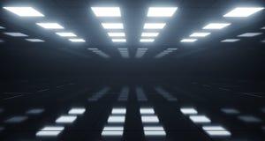 Enormer leerer Raum mit quadratischen Lichtern auf Decke und reflektierendem Flo lizenzfreie abbildung