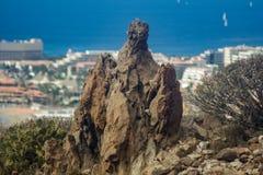 Enormer mystischer Lavafelsen surraunded durch kanarische endemische Anlagen Ansicht Los Cristianos von Guaza-Berg Tenerife, Kana lizenzfreies stockfoto