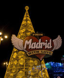 Enormer Weihnachtsbaum gemacht von den Lichtern an Puerta del Sol -Quadrat in Madrid Lizenzfreie Stockfotografie