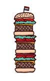 Enormes dreifaches cheesburger vektor abbildung