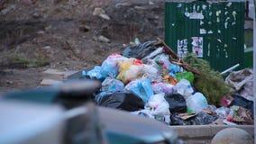 Enormes Dump der Nahaufnahme von Abfalltaschen mit dem Abfall, der auf dem Boden nahe bei Abfalleimern im Wohnyard liegt stock video