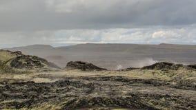 Enormes ruhiges dämpfendes Lavafeld an vulkanischem Bereich Krafla, Myvatn Seebereich, Nord-Island, Europa lizenzfreie stockbilder