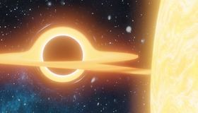 Enormes schwarzes Loch saugt Angelegenheit vom Stern - Supernova Ia 3D übertrug Abbildung stock abbildung