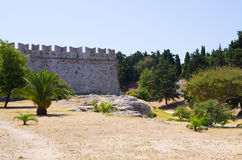 Enormous ancient walls of Rhodes town, Greece Stock Photo