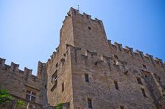 Enormous ancient walls of Rhodes town, Greece Royalty Free Stock Photos