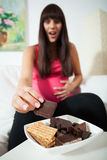 Enormous appetite during pregnancy. Vertical view of enormous appetite during pregnancy Stock Image
