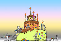 Enormous birthday cake. A colorful illustration of people building a huge birthday cake stock illustration