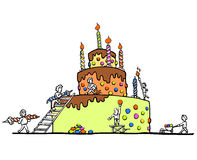 Enormous birthday cake - white background. A colorful illustration of people building a huge birthday cake royalty free illustration