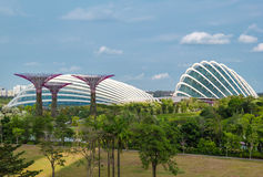 Enormous greenhouses in Gardens by the Bay, Singapore. Flower Dome and Cloud Forest at Gardens by the Bay is the famous attraction of Singapore Stock Image