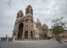 Enormous Marseilles Cathedral foreground in a cloudy day Stock Photos