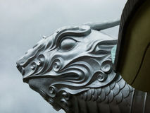 Enormous Sculpted Silver Turtle Head Royalty Free Stock Image