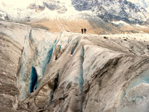Enormt alpen glaciären på Mont Blanc Arkivbilder