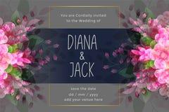 Enormt gifta sig inbjudankort med blommakrusidullgarnering royaltyfri illustrationer