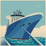 Enormt kryssningskepp på den retro affischen för pir royaltyfri illustrationer