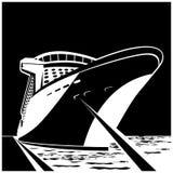 Enormt kryssningskepp på pir vektor illustrationer