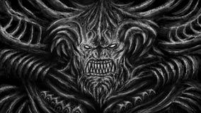 Enormt monster med horn Svartvit färg stock illustrationer