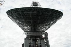 Enormt radioteleskop i skogen royaltyfri fotografi