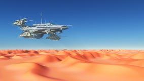 Enormt rymdskepp över en öken royaltyfri illustrationer