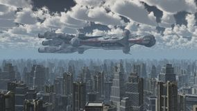 Enormt rymdskepp över en storstad stock illustrationer