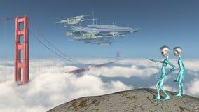 Enormt rymdskepp över Golden gate bridge i San Francisco och nyfikna främlingar Vektor Illustrationer