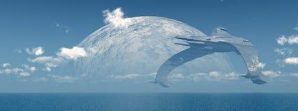 Enormt rymdskepp över havet royaltyfri illustrationer