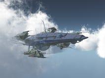 Enormt rymdskepp mellan molnen stock illustrationer