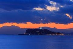 Enoshima przy półmrokiem obraz royalty free