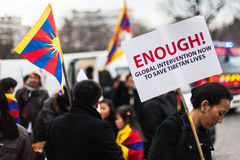 Enough!. Demonstration for a free Tibet in Paris, March 10th, 2012 Royalty Free Stock Photos