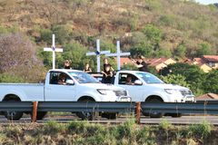 Enough-is-Enough, anti farmer murder campaign Rustenburg, South. Rustenburg, South Africa. 30 October 2017. Countrywide protest through vehicle processions with stock photo