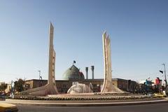 The Enqelab square in Zanjan city, Iran. The Enqelab square and the dome with minarets of Rasul-Ullah Sai-ibi mosque in center of Zanjan city, Iran stock image