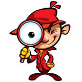 Enquête révélatrice mignonne de bande dessinée avec le manteau rouge Photos stock