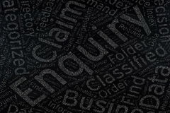 Enquiry ,Word cloud art on blackboard.  royalty free stock photo