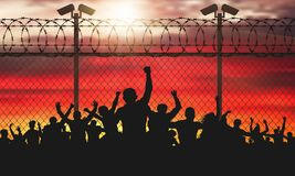 Enraged crowd of people are behind bars. vector illustration