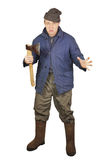 Enraged sloppy man with an axe Stock Photography