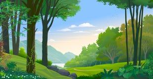 Enredadera que se arrastra a lo largo de un tronco de árbol Bosque y una vista del río y de las montañas stock de ilustración