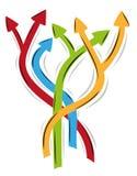 Flechas como símbolo de muchas maneras diferentes Imagen de archivo